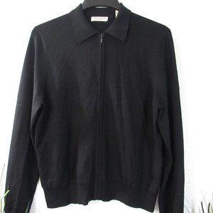 Black Zip Front Silk Cardigan Sweater Sz L
